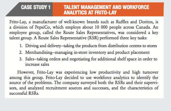 Solved Talent Management And Workforce Analytics At Frito