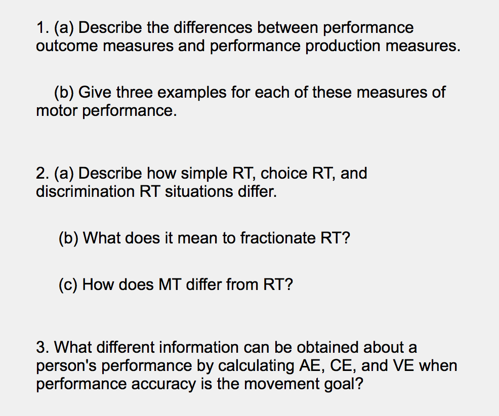What Does Rt Mean >> Solved 1 A Describe The Differences Between Performanc