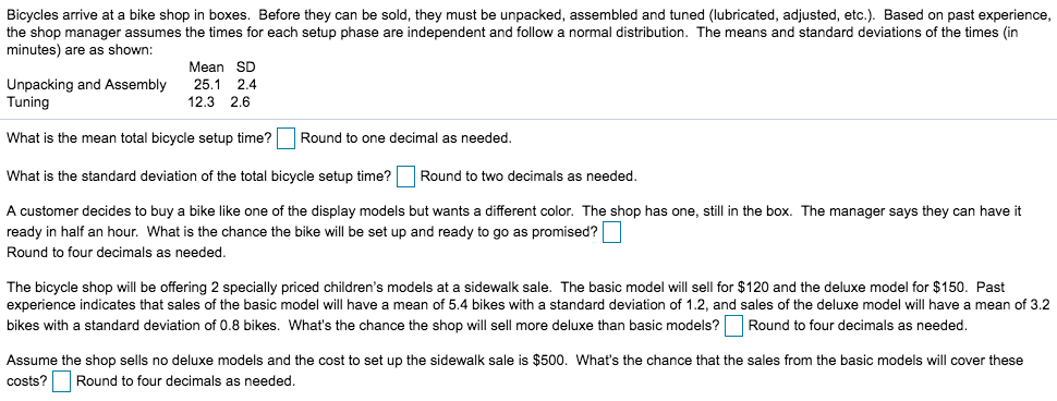 9a92221bd30 Bicycles arrive at a bike shop in boxes. Before they can be sold, they