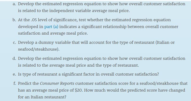 restaurant customer satisfaction survey