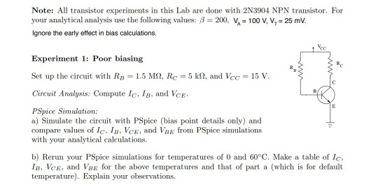 Solved: Note: All Transistor Experiments In This Lab Are D