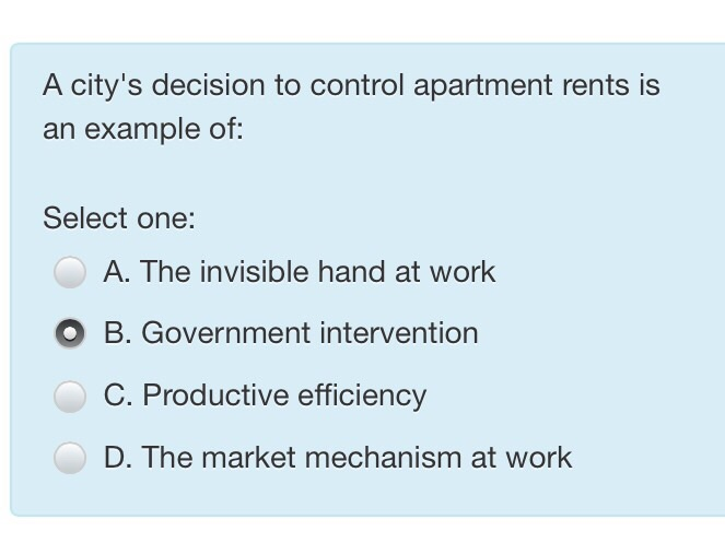 Solved A Citys Decision To Control Apartment Rents Is An