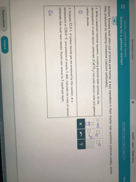 Solved Blackboard Learn Aleks Learn Tanae Terry O Gase