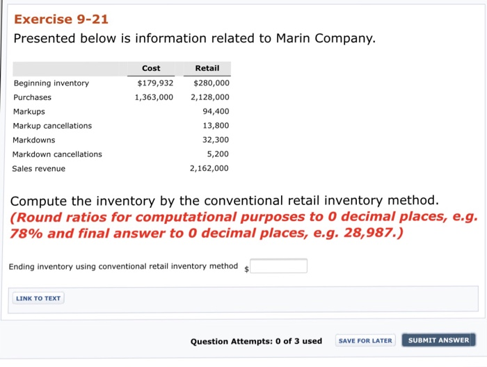 Accounting archive november 26 2017 chegg exercise 9 21 presented below is information related to marin company cost retail beginning fandeluxe Choice Image