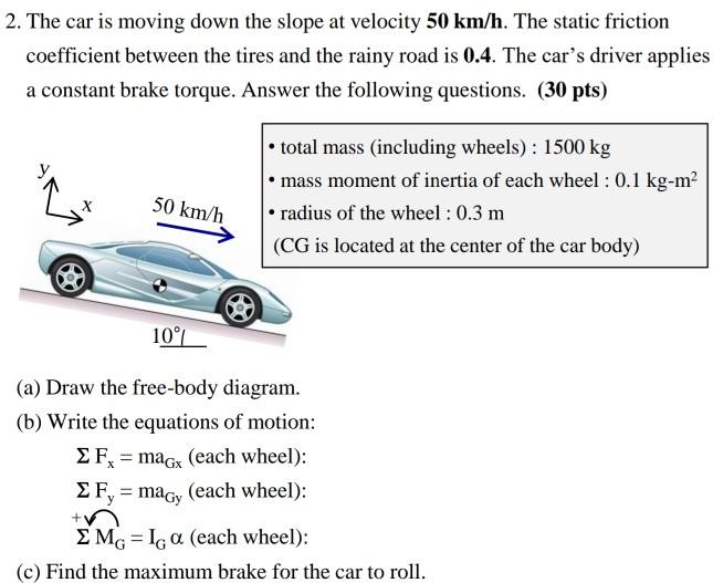 car braking free body diagram