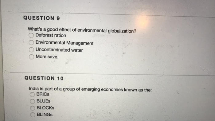 solved question 9 what s a good effect of environmental g