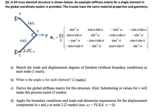 Q5  A 2D Truss Element Structure Is Shown Below  A