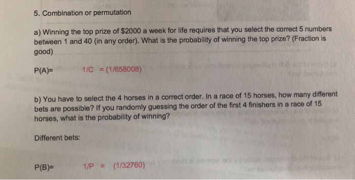 Solved: 5  Combination Or Permutation A) Winning The Top P