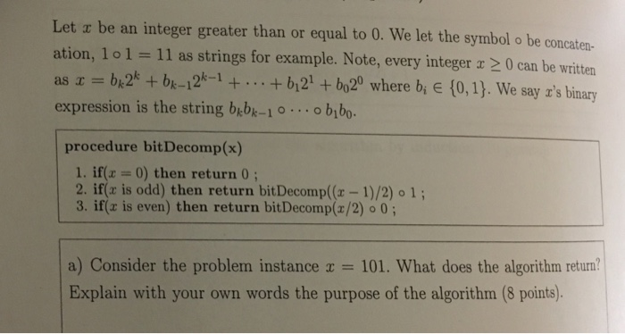 Solved Let X Be An Integer Greater Than Or Equal To 0 We