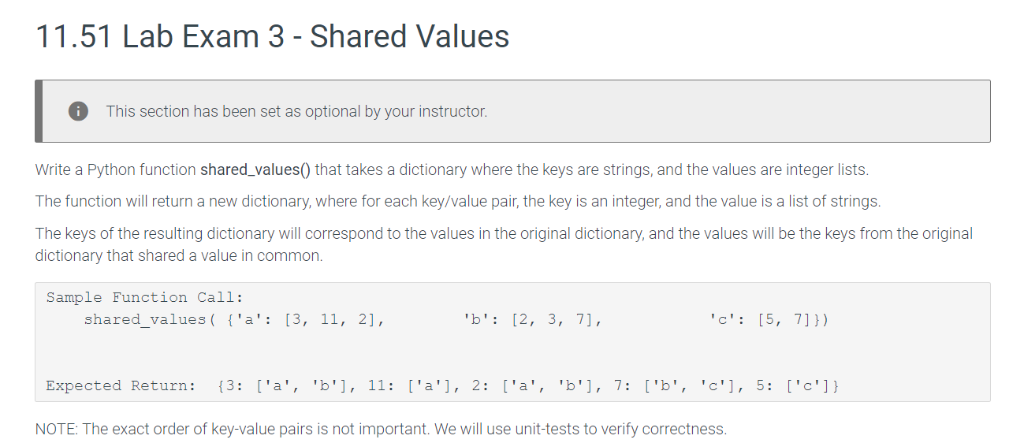 Solved: 11 51 Lab Exam 3 - Shared Values This Section Has