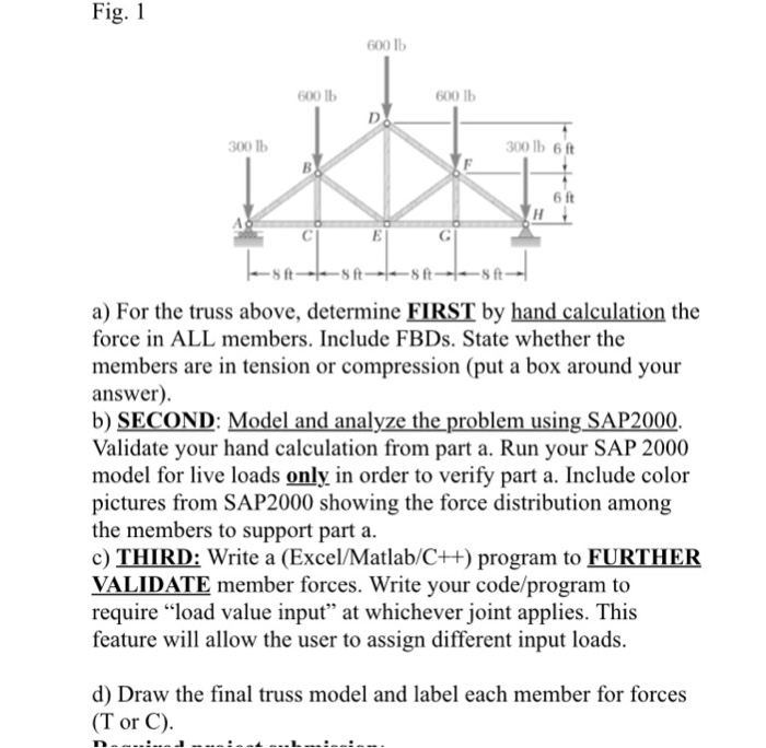 Fig. 1 600 lb 600 b 600 Ib 300 lb 300 lb 6ft 6 ft s ft a) For the truss above, determine FIRST by hand calculation the force in ALL members. Include FBDs. State whether the members are in tension or compression (put a box around your answer) b) SECOND: Model and analyze the problem using SAP2000 Validate your hand calculation from part a. Run your SAP 2000 model for live loads only in order to verify part a. Include color pictures from SAP2000 showing the force distribution among the members to support part a c) THIRD: Write a (Excel/Matlab/C++) program to FURTHER VALIDATE member forces. Write your code/prograrm to require load value input at whichever joint applies. This feature will allow the user to assign different input loads. d) Draw the final truss model and label each member for forces (T or C)