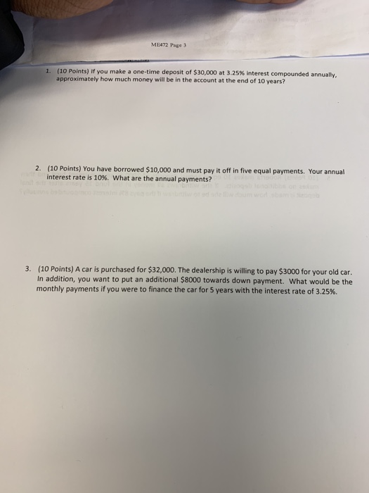 Solved: MEA72 Page 3 (10 Points) If You Make A One-time De