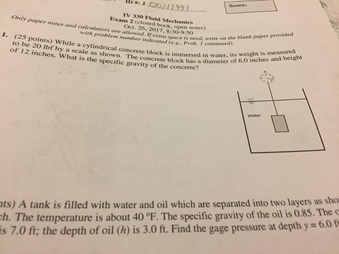 Solved: Score IV 330 Fluid Mechanics Exam 2 (closed Book