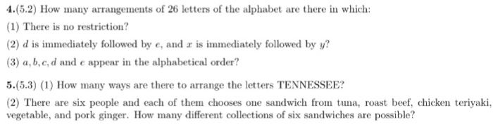 Solved: How Many Arrangements Of 26 Letters Of The Alphabe