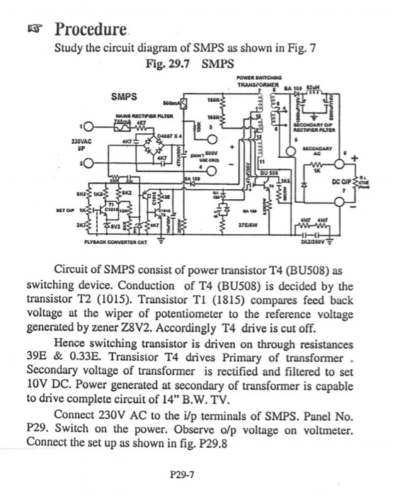 Procedure Study The Circuit Diagram Of Smps As Sho