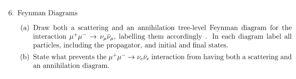 Solved 6 Feynman Diagrams A Draw Both A Scattering And