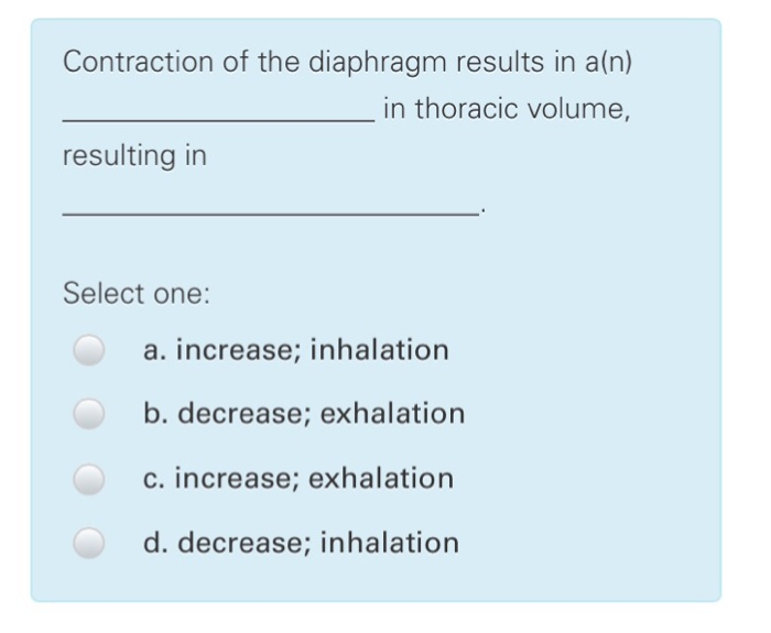 Solved: Contraction Of The Diaphragm Results In A(n) _____