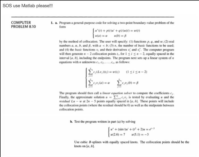 SOS Use Matlab Please!!! COMPUTER PROBLEM 8 10 1      | Chegg com