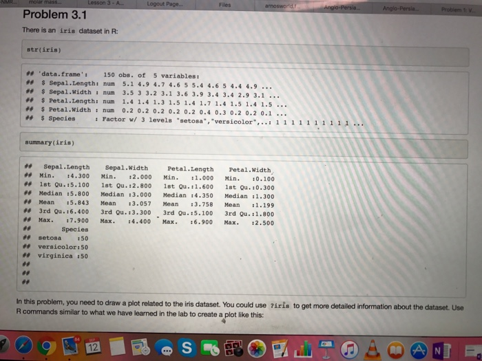 Solved: There Is An Iris Dataset In R: Str (iris) ## Data