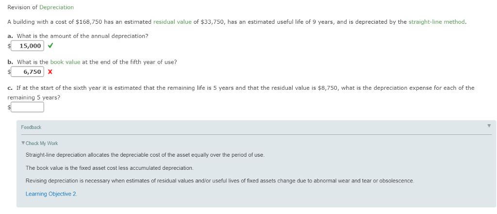 Revision Of Depreciation A Building With Cost 168 750 Has An Estimated Residual Value