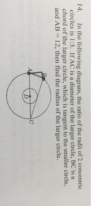 Solved in the following diagram the ratio of the radii o in the following diagram the ratio of the radii of 2 concentric circles ccuart Gallery
