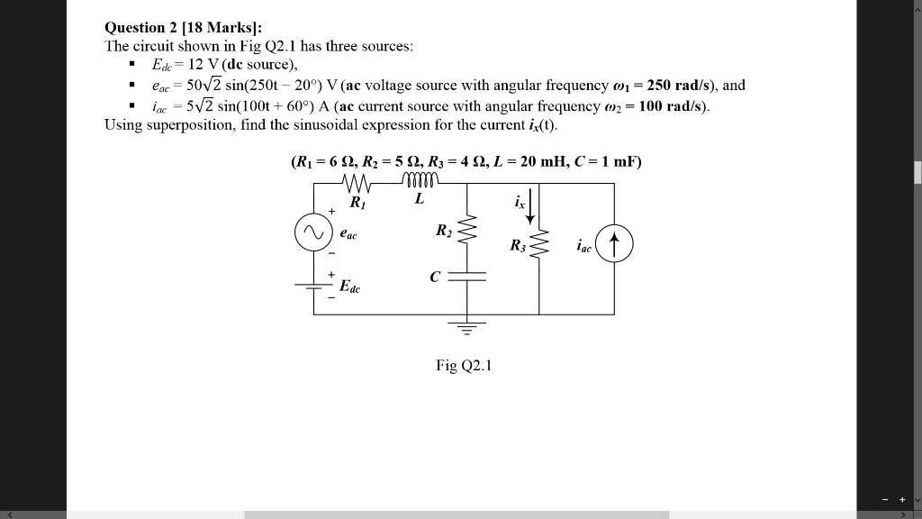Solved: Question 2 [18 Marks]: The Circuit Shown In Fig Q2