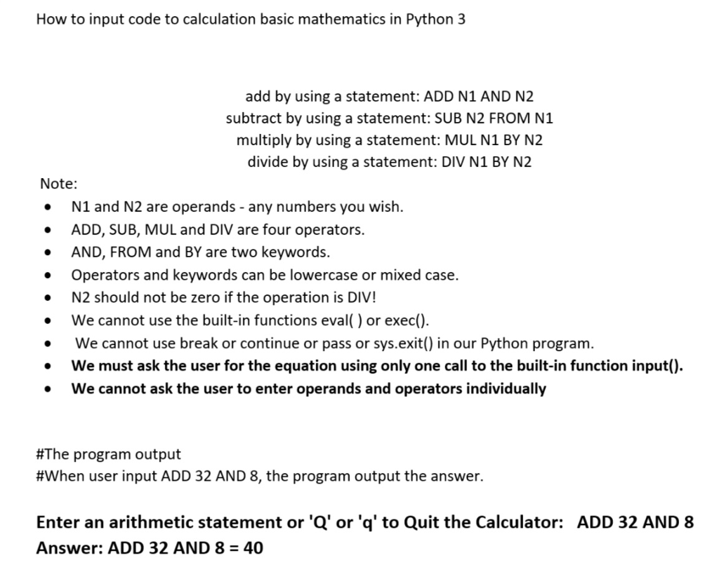 Solved: How To Input Code To Calculation Basic Mathematics