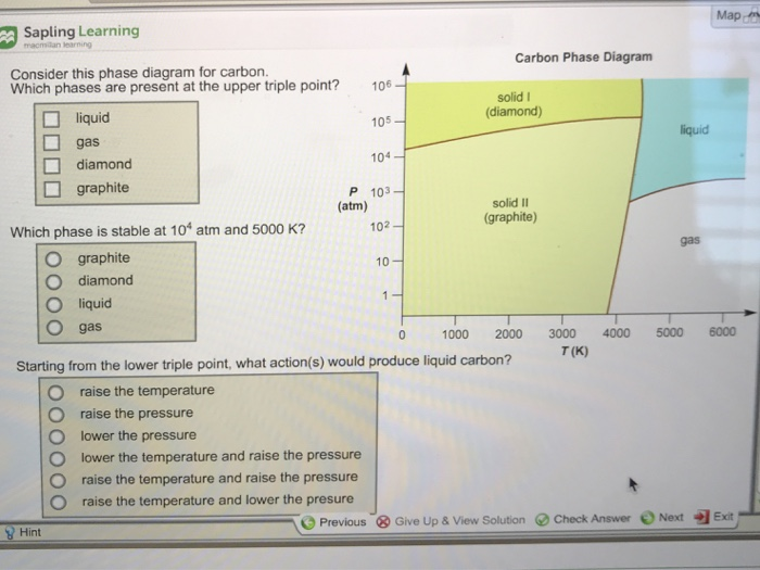 Solved sapling learning map carbon phase diagram consider sapling learning map carbon phase diagram consider this phase diagram for carbon which phases are ccuart Images
