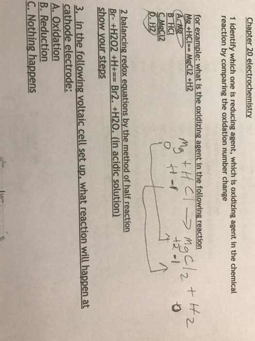 Solved: Chapter 20 Electrochemistry 1 Identify Which One I