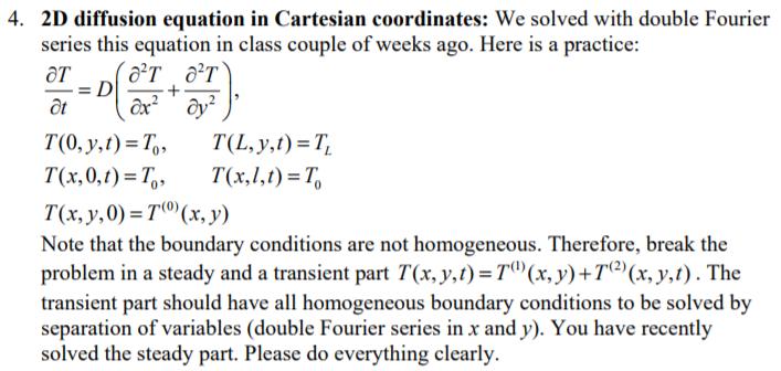 4  2D Diffusion Equation In Cartesian Coordinates