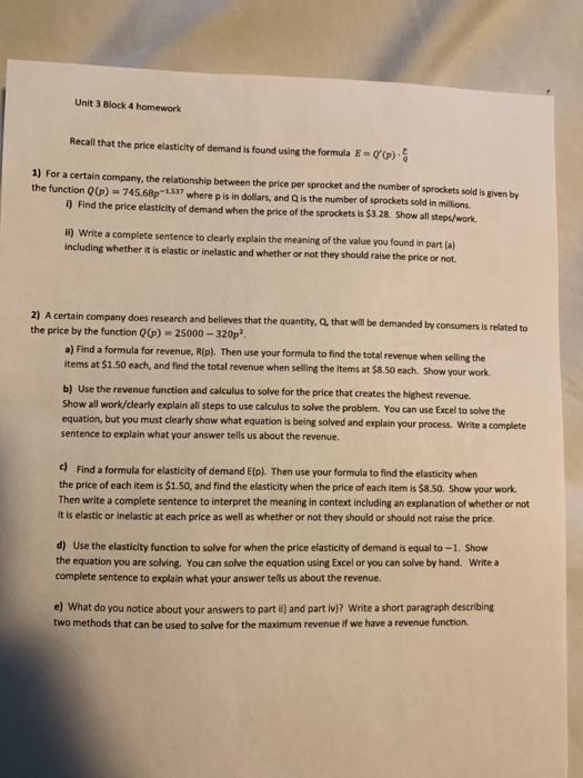 Solved Unit 3 Block 4 Homework Recall That The Price Elas