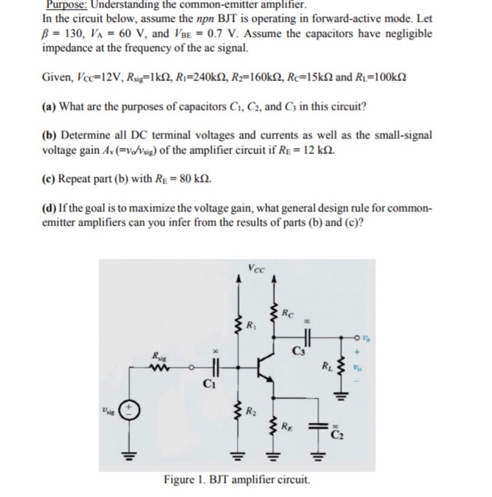 solved purpose understanding the common emitter amplifie rh chegg com