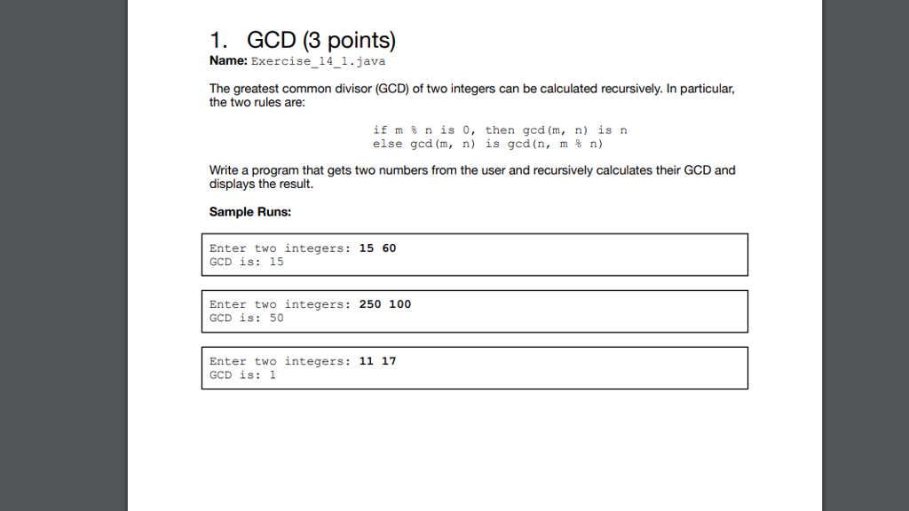 Solved 1 Gcd 3 Points Name Exercise 14 1 Java The Gre