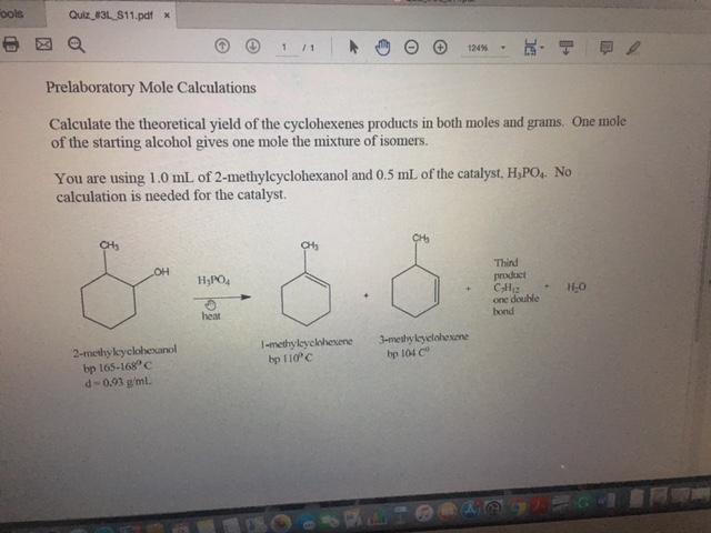 Solved: Ools Quiz_a3L.S1 1.pdf х Prelaboratory Mole Calcul...   Chegg.com