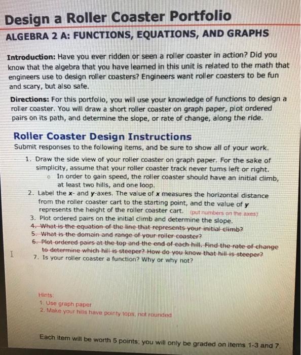 Solved: Design A Roller Coaster Portfolio ALGEBRA 2 A: FUN ...