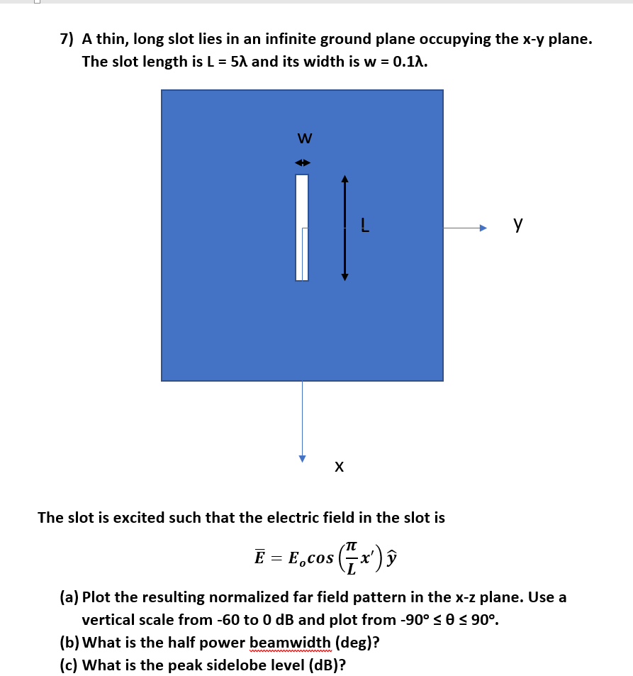 7) A thin, long slot lies in an infinite ground plane occupying the x-y plane. The slot length is L-5λ and its width is w-0.1