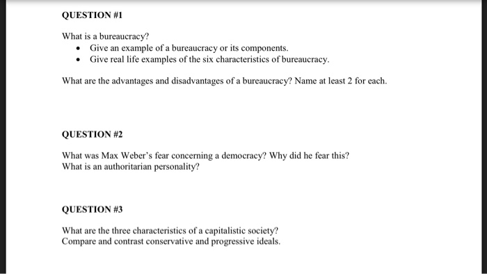 Solved Question 1 What Is A Bureaucracy Give An Example