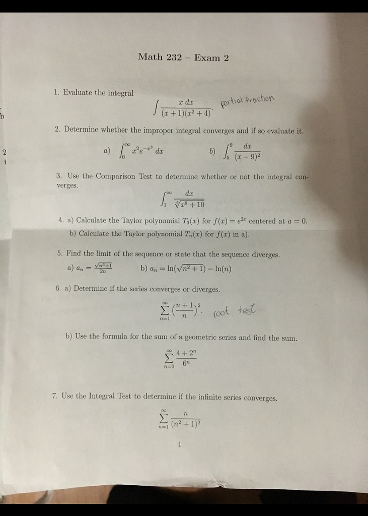Solved: This Is A Practice Exam For Calculus 2  If Possibl