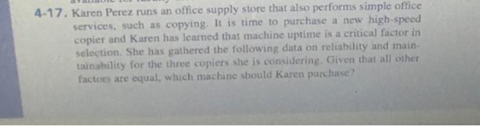 Solved: 4-17  Karen Perez Runs An Office Supply Store That