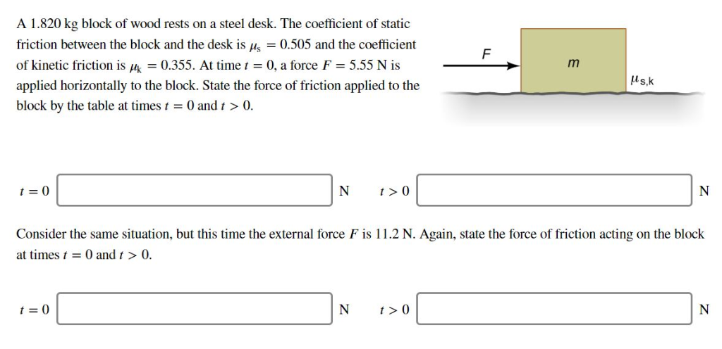 A 1.820 kg block of wood rests on a steel desk. The coefficient of static friction between the block and the desk is us 0.505