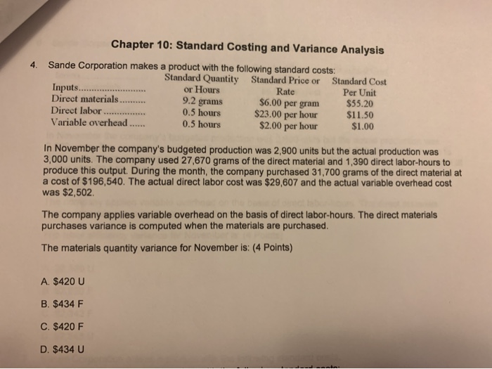 standard costing and variance analysis questions and answers