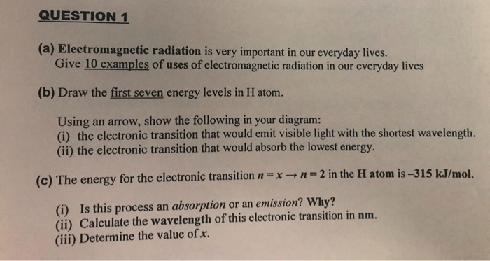 Solved A Electromagnetic Radiation Is Very Important In