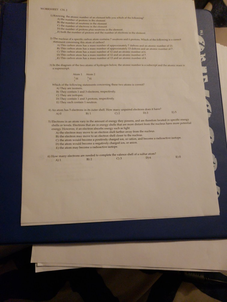 Solved Worksheet Ch 2 1 Knowing The Atomic Number Of An