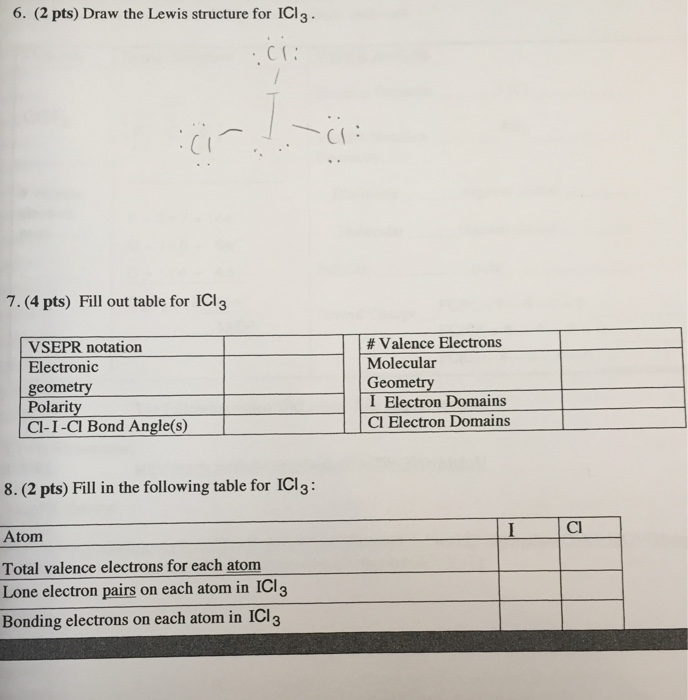 Solved: 6  (2 Pts) Draw The Lewis Structure For ICl3 CT 7