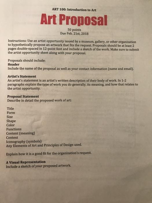 Art 100 Introduction To Art Art Proposal 50 Point Chegg Com