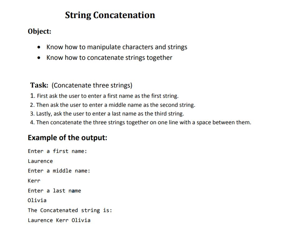 Solved String Concatenation Object Know How To Manipulat