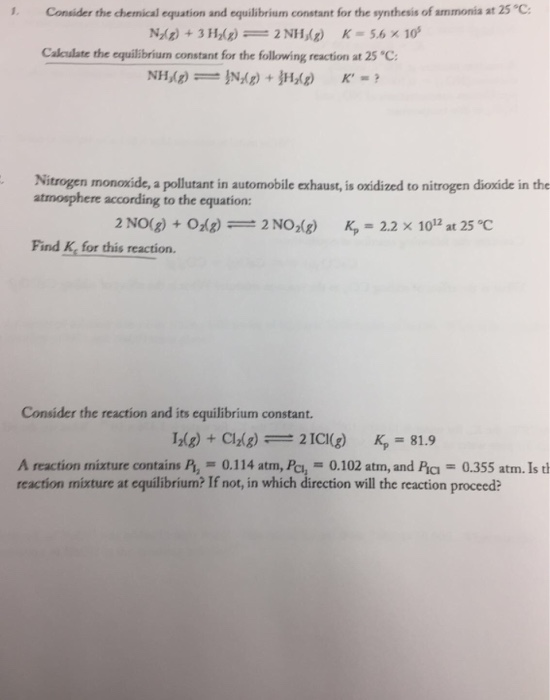 Solved Consider The Chemical Equation And Equilibrium Con