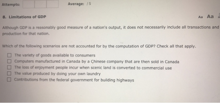 limitations to gdp
