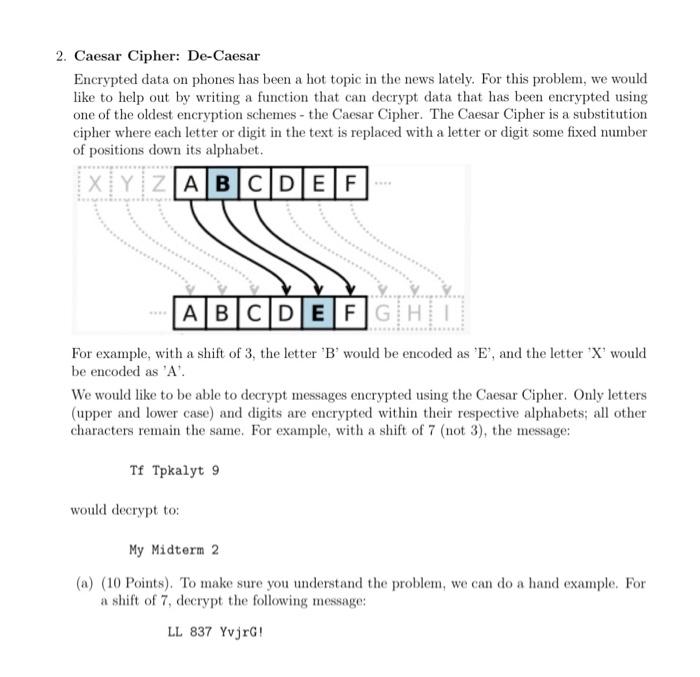 Solved: 2  Caesar Cipher: De-Caesar Encrypted Data On Phon