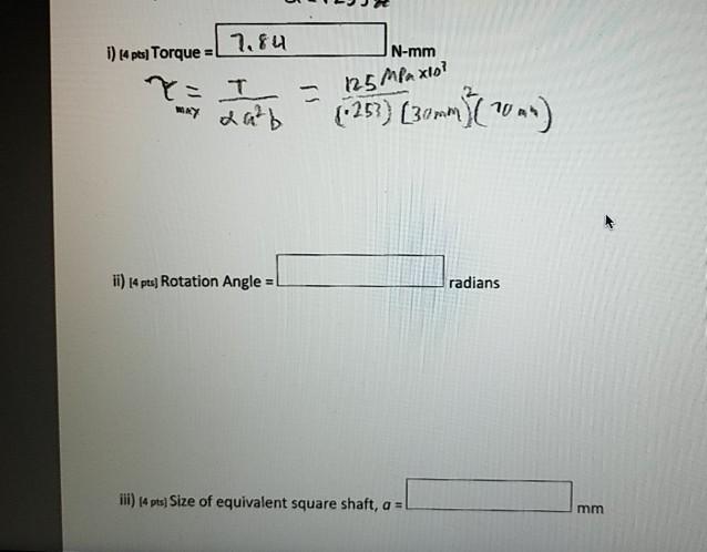 Solved: Problem 3) Torsion Of Non-Circular Shafts (16 Poin